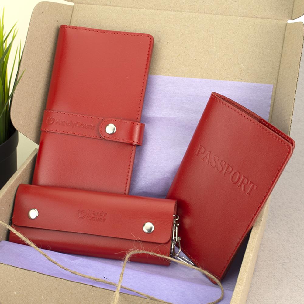 Подарочный женский набор HandyCover №50: Кошелек + обложка на паспорт + ключница (красный)