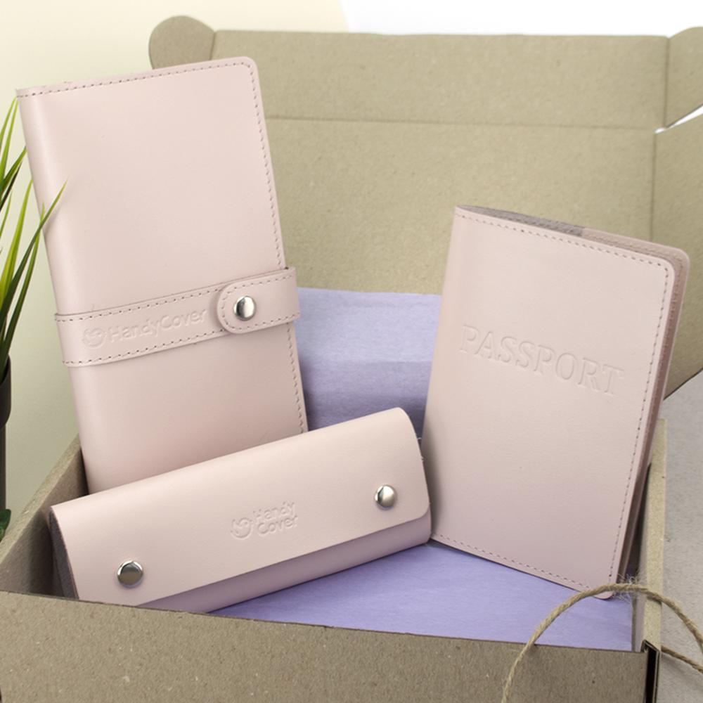Подарунковий набір жіночий HandyCover №50: Гаманець + обкладинка на паспорт + ключниця (пудровий)