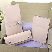 Подарунковий набір жіночий HandyCover №50: Гаманець + обкладинка на паспорт + ключниця (пудровий), фото 1
