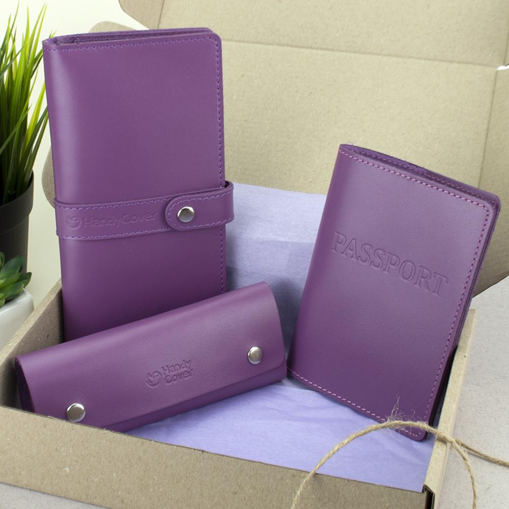 Подарочный женский набор HandyCover №50: Кошелек + обложка на паспорт + ключница (фуксия)