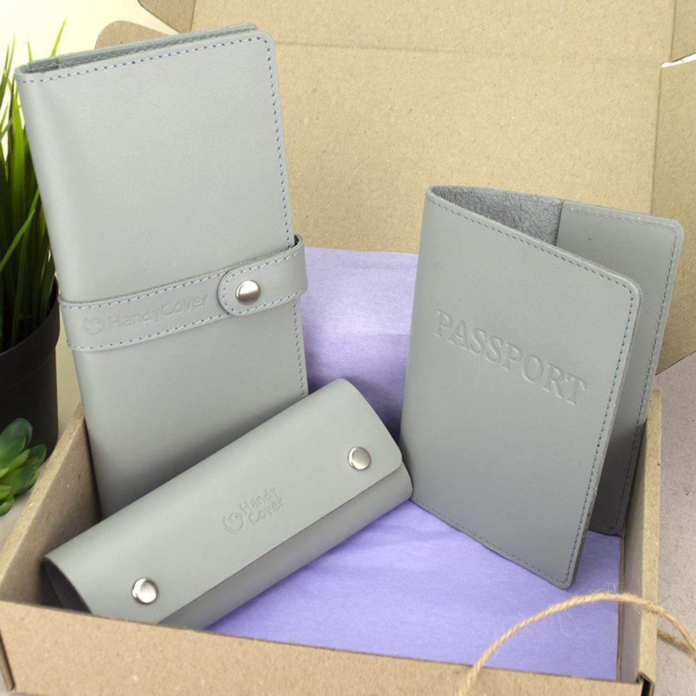 Подарочный женский набор HandyCover №50: Кошелек + обложка на паспорт + ключница (серый)