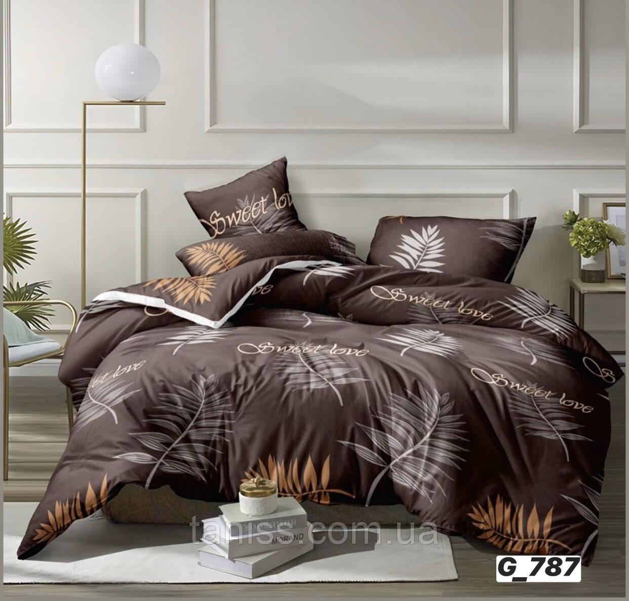 """Евро комплект постельного белья Бязь """"Gold"""", расцветка как на фото ,листочки"""