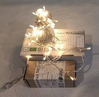 Новогодняя светодиодная гирлянда нить 10 метров теплая белая ECOLEND