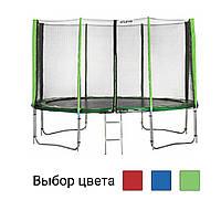 Батут спортивний Atleto 465 см з 5 подвійними ногами зовнішньої сіткою для дітей і дорослих домашній вуличний Зелений, фото 1