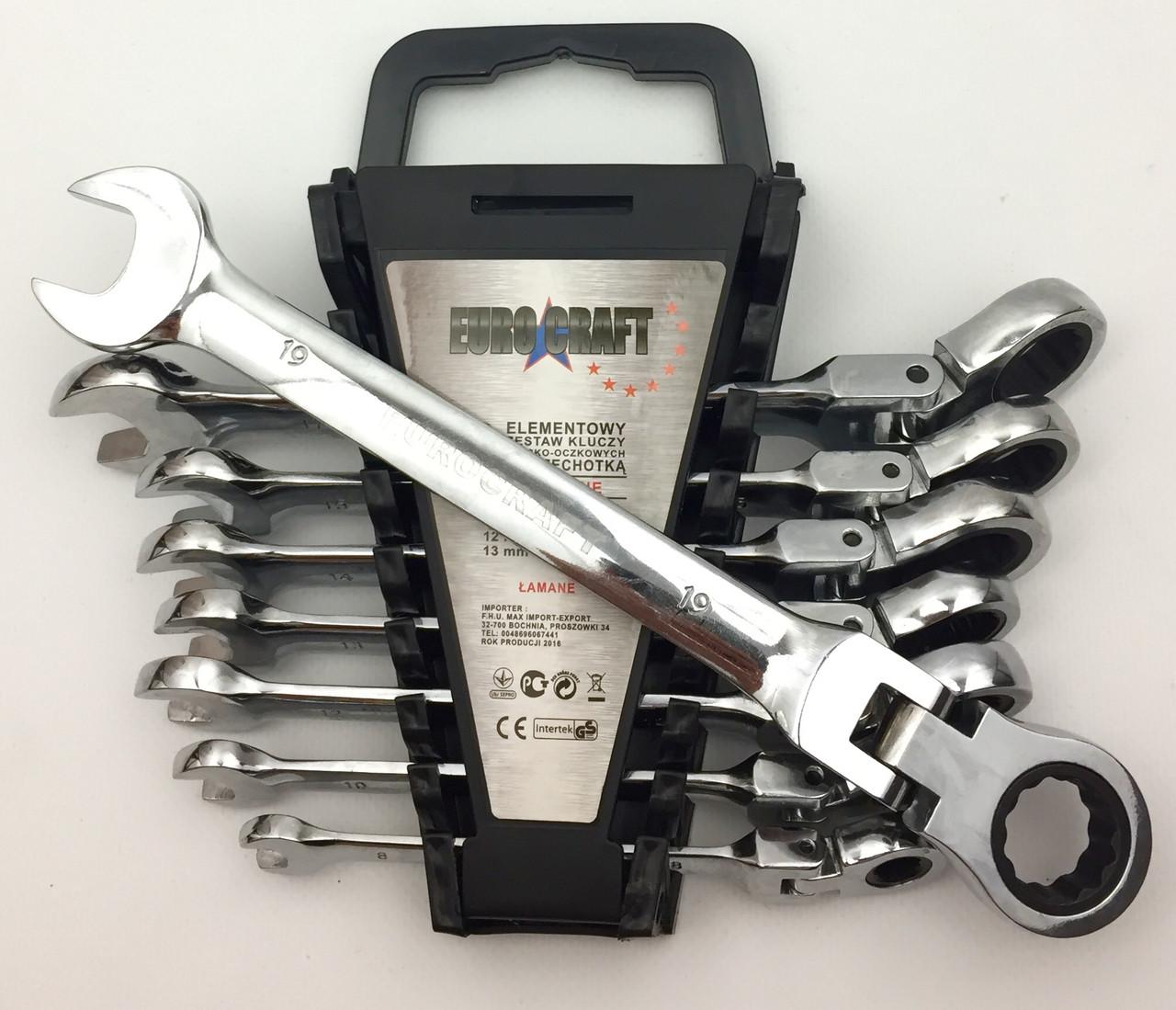 Набір ключів рожково-накидних з тріскачкою Euro Craft Польща 8 предметів (8-19)