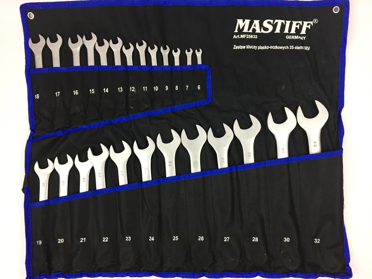 Професиональний набор ключей рожково-накидных Mastiff 25 предметов