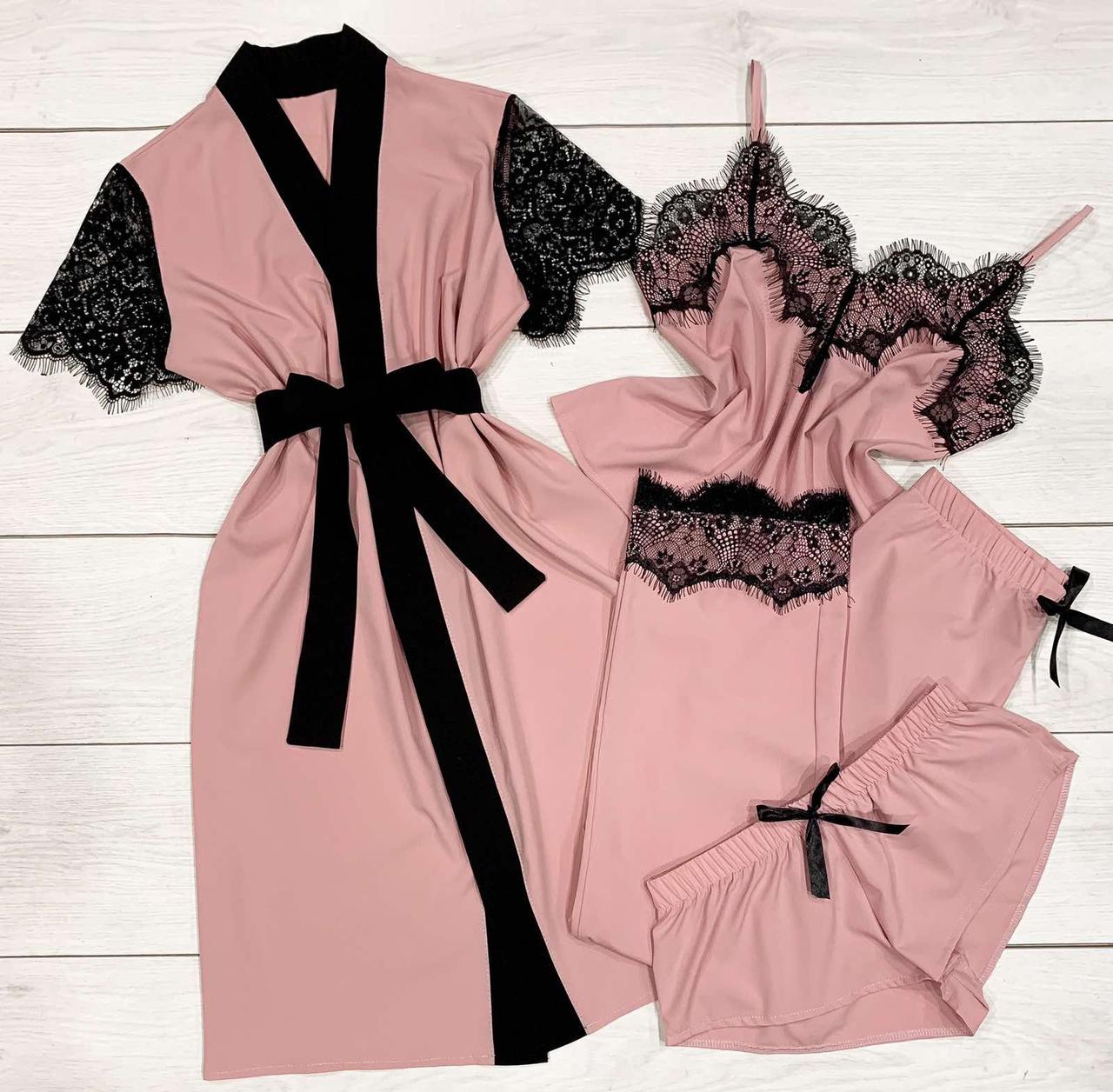 Пудровый комплект 4-ка с кружевом Халат майка штаны и шорты Домашняя женская одежда