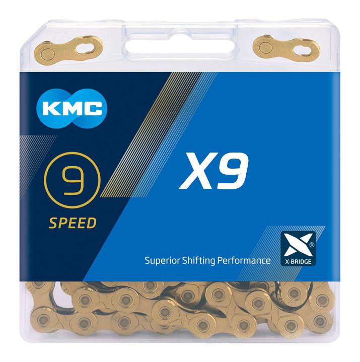 Цепь KMC X9 золотой МТВ 9 скор.114 звеньев с замком