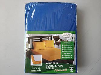 Постельное белье Летнее ранфорс простынь на резинке с наволочками Синий Лелека Текстиль