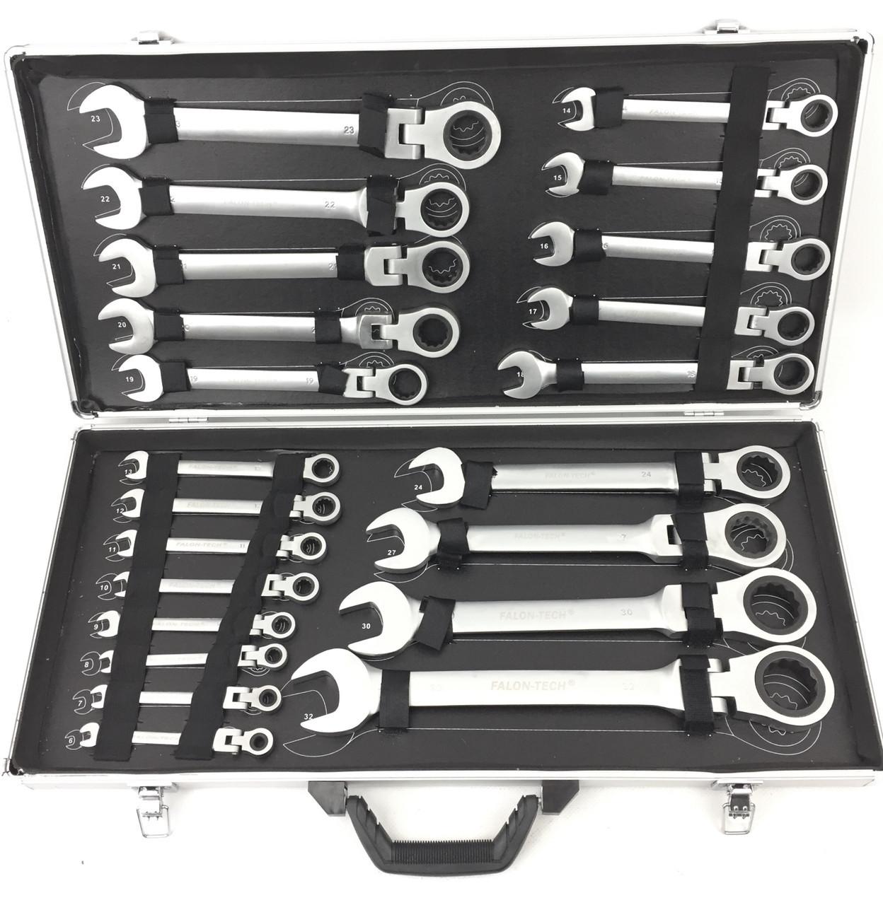 Профессиональный набор рожково-накидных ключей с трещоткой Falon Tech 22 шт. (6-32)