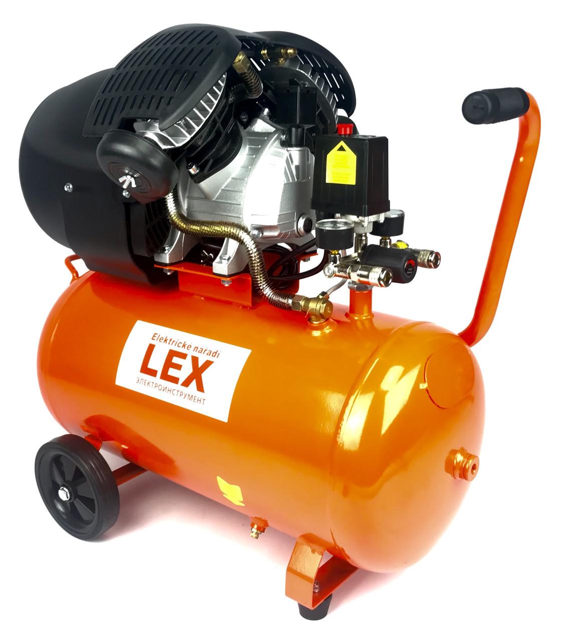 Компрессор двухцилиндровый воздушный LEX 50L (LXC50V)