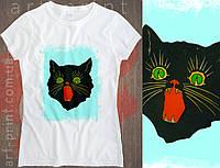 Футболка біла жіноча з принтом Raging black cat, фото 1