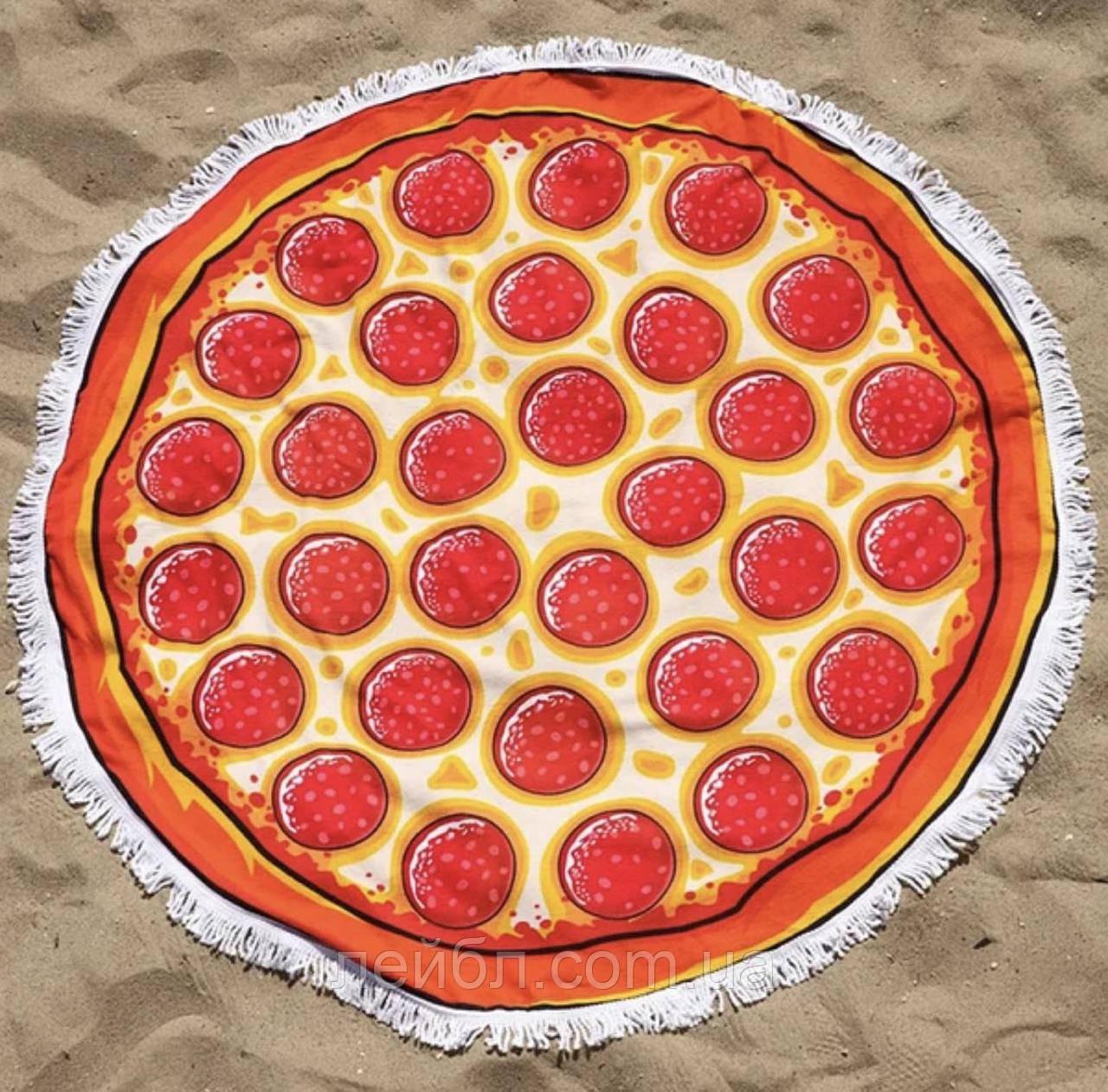 Пляжное круглое полотенце из микрофибры - Пицца