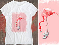 Футболка біла жіноча з принтом Flamingo, фото 1