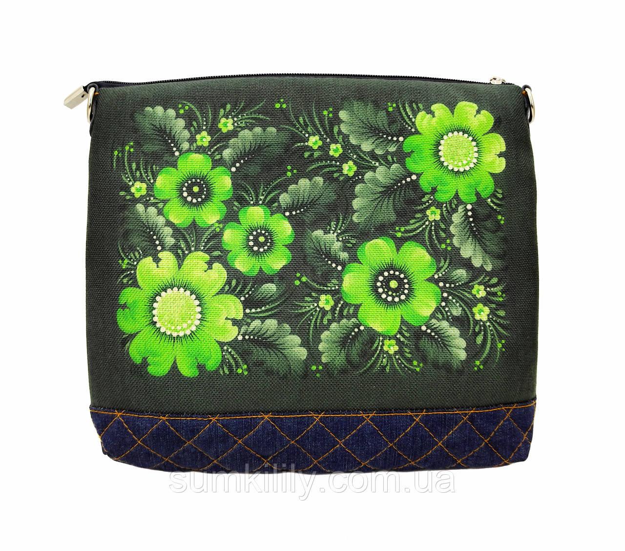 Джинсовая сумочка Зелёная фантазия