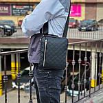 Чоловіча стильна сумка барсетка через плече стьобана чорна еко-шкіра ., фото 3