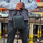 Чоловіча стильна сумка барсетка через плече стьобана чорна еко-шкіра ., фото 4
