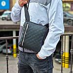 Чоловіча стильна сумка барсетка через плече стьобана чорна еко-шкіра ., фото 2