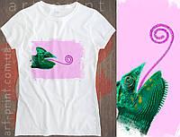 Футболка белая женская с принтом Chameleon, фото 1