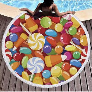 Пляжное круглое полотенце из микрофибры - Леденцы