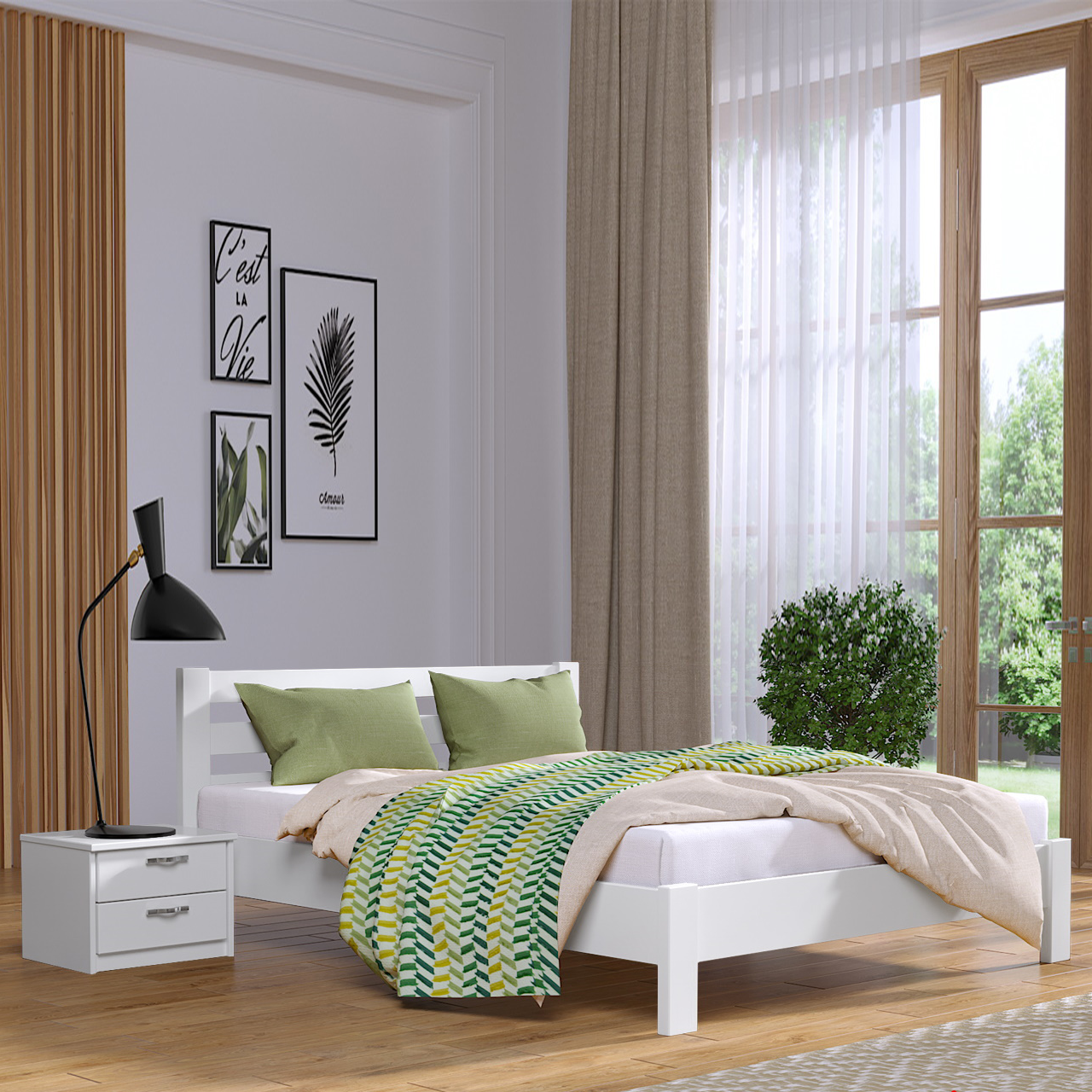 Кровать деревянная двуспальная Рената Люкс (бук)