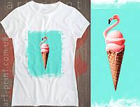 Футболка белая женская с принтом Flamingo Ice Cream, фото 1