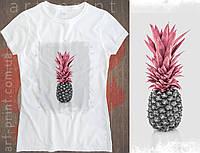 Футболка біла жіноча з принтом Pineapple, фото 1