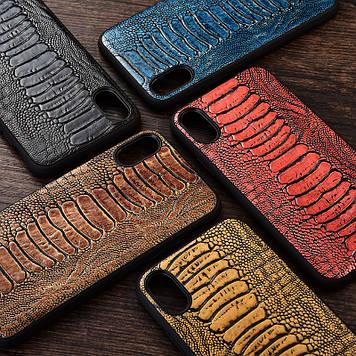 """Силиконовый чехол накладка противоударный со вставкой из натуральной кожи для Samsung S10+ G975 """"GENUINE"""""""