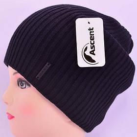 Длинная вязаная шапка Ascent черная