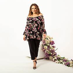 Блуза женская с рюшами большого размера