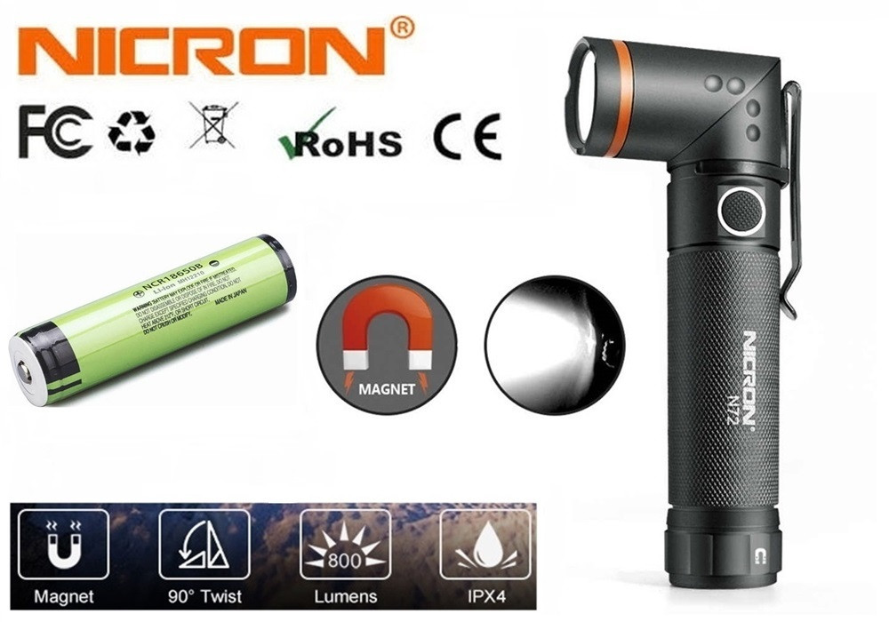 Фонарь Nicron N72+Аккумулятор Panasonic 3400mAh (800LM, IPX4, Торцевой магнит, Поворотная голова, 1*18650)