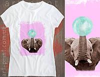 Футболка біла жіноча з принтом Elephant, фото 1