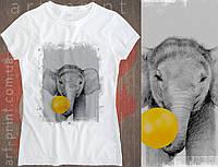 Футболка белая женская с принтом Elephant, фото 1