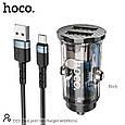 Адаптер автомобильный HOCO double port car charger DZ3 (Type-C/Micro USB/Lightning), фото 2