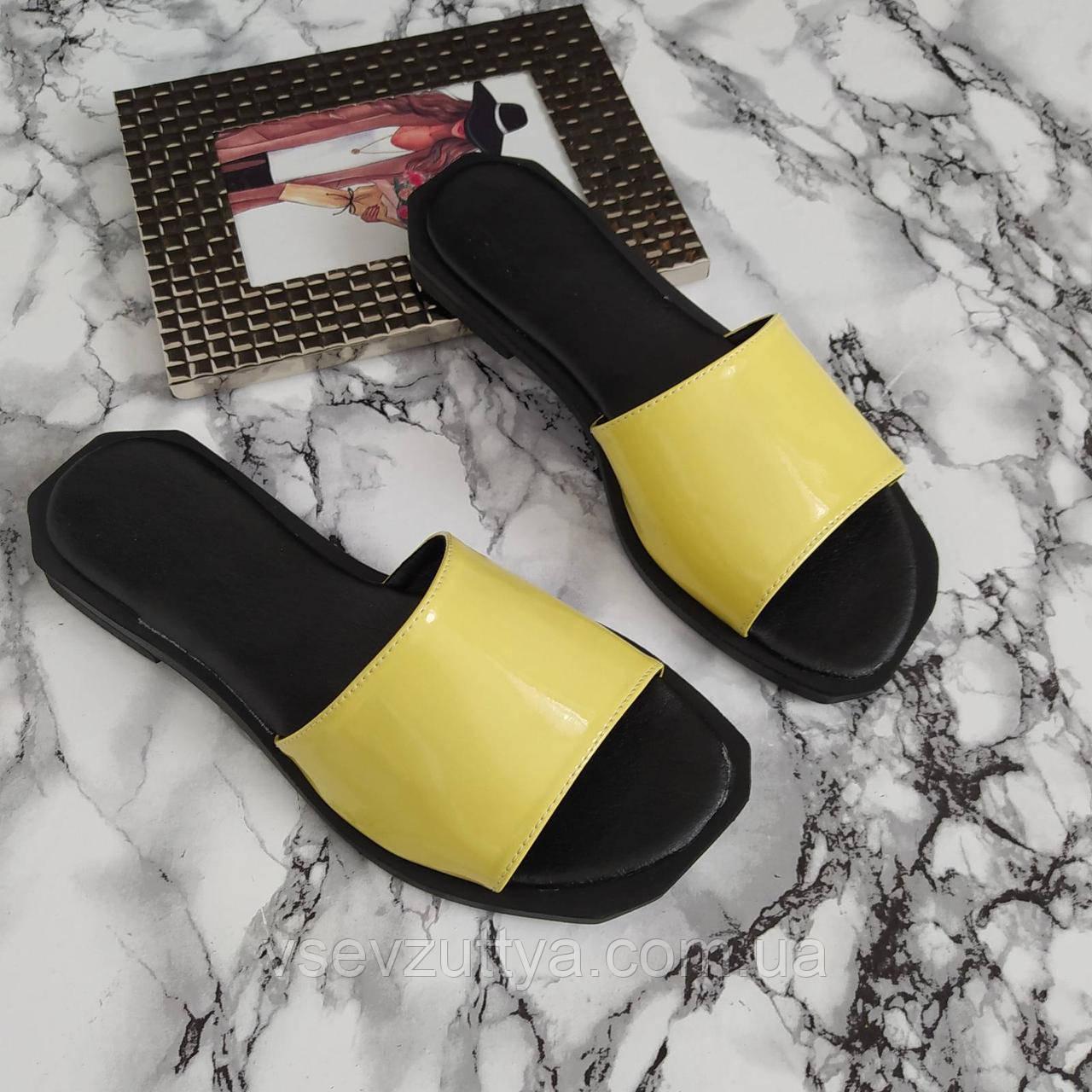 Шльопанці лакові жіночі жовті