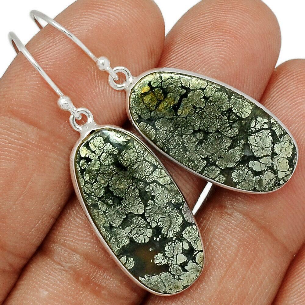 Срібні сережки з пиритом в агаті 1594СП