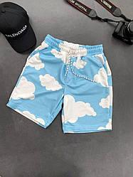 Чоловічі шорти з хмарами (блакитні) трикотажні на літо Ѕк49_шорты