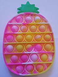 """Сенсорна іграшка Поп іт, pop it """"ананас"""" з рефлеными літерами та цифрами, поп іт антистрес, поп-іт, (pop It)"""