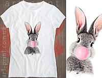 Футболка белая женская с принтом Cute Bunny, фото 1