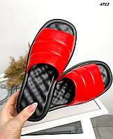 Женские кожаные лаковые шлёпанцы на низком ходу 36-40 р красный, фото 1