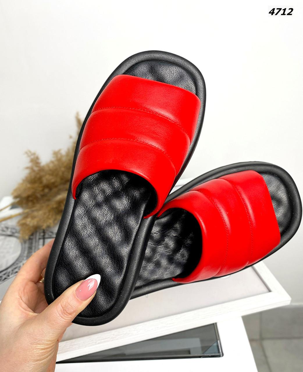 Женские кожаные лаковые шлёпанцы на низком ходу 36-40 р красный