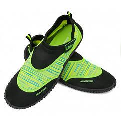 Чоловічі аквашузы Aqua Speed 2B 44 Чорний з зеленим (aqs277)