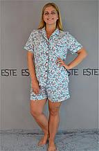 Пижама женская рубашка  шорты большие размеры Este 727.
