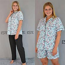 Пижама 3 в 1 рубашка шорты штаны Este размер 48-50-52-54.