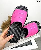 Женские кожаные лаковые шлёпанцы на низком ходу 36-40 р розовый, фото 1