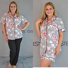 Женская пижама большого размера рубашка шорты и штаны Este .