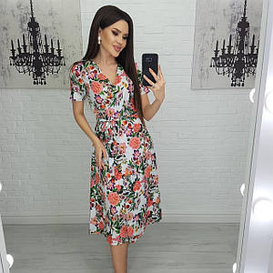 Платье женское цветочное летнее на запах миди с коротким рукавом