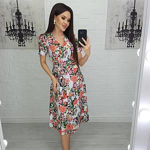 Сукня жіноча квіткова літній на запах міді з коротким рукавом