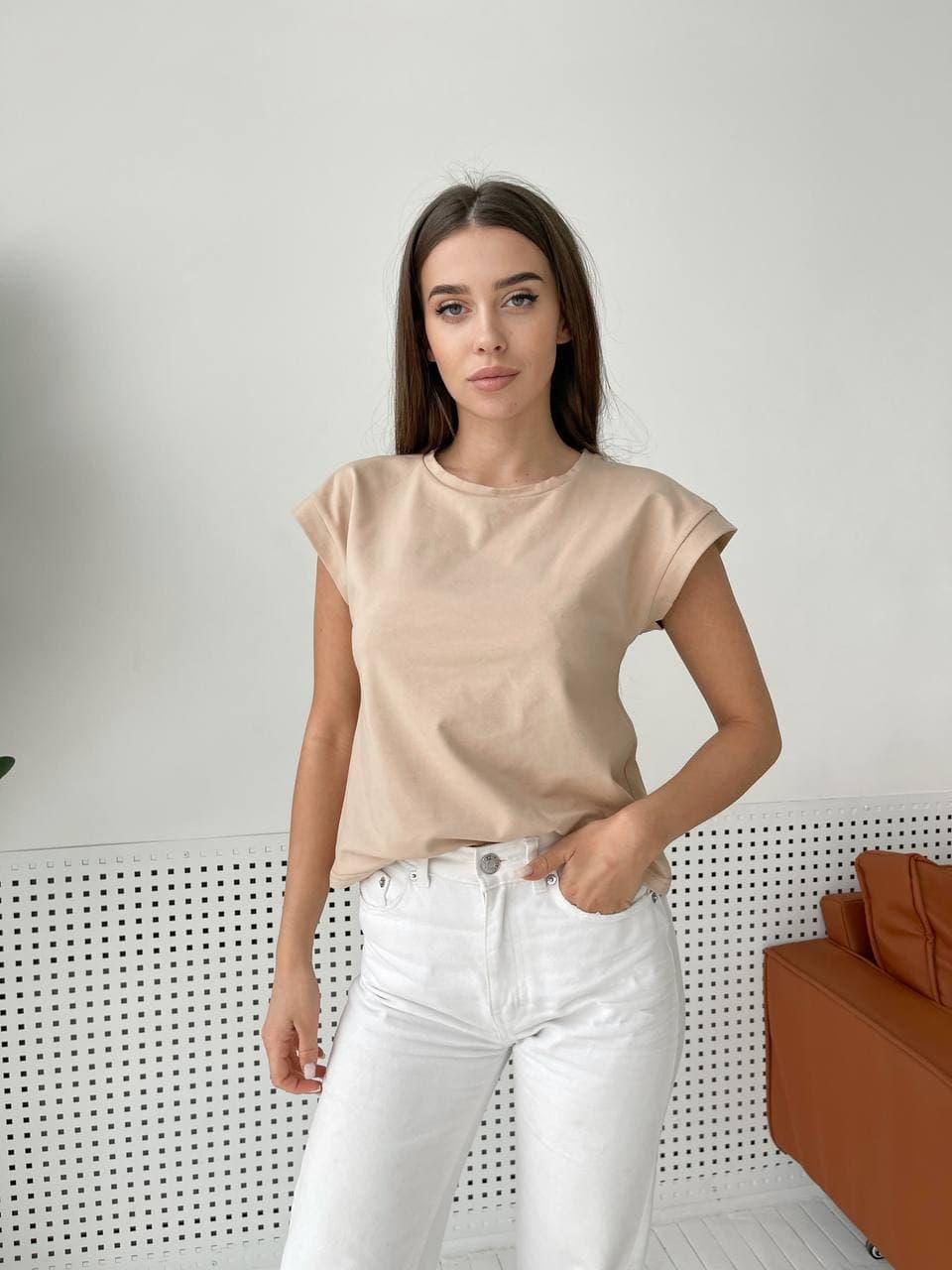 Женская базовая бежевая футболка