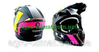 Кроссовый мотошлем Эндуро 806 Start Neon глянец S/M